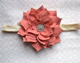 Coral dahlia flower baby headband, infant headband, toddler headband, newborn headband
