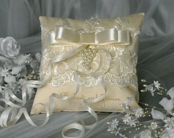 Ivory Wedding Ring Pillow / Lace Ivory Wedding Pillow / Ring Bearer Pillow Embroidery Names / Lace Bow Ivory / Custom colors