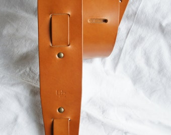 "handmade leather guitar strap made in France Urban Cam "" The 605 whisky"""