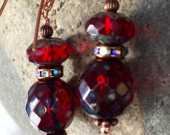 Ruby Red Earrings, Red Earrings, Picasso Czech Glass Earrings, Crystals AB, Copper Wire Wrapped, Cherry Red Dangles