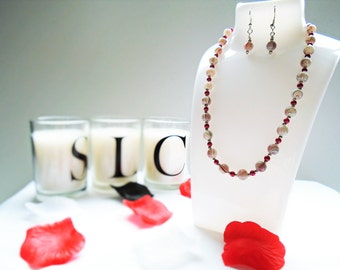 Red dragon bead necklace and earrings
