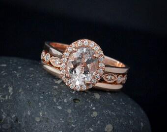 Pink Morganite Wedding Ring Set – Vintage Inspired Weddings - 14KT Rose Gold