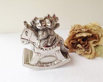 Silver Baby Rocking Horse and Teddy Bear Bank / Baby Coin Box / Baby Piggybank / Baby Piggy Bank / Silver Bank / Silver Coin Box