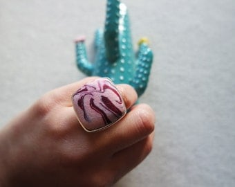 Handmade Polymer Clay Marble Square Oversized Adjustable Ring
