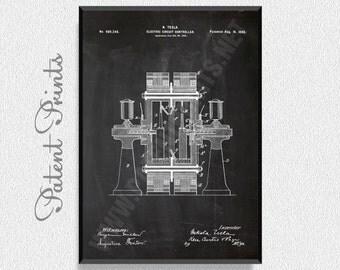Tesla Electric Circuit Controller Patent Print, Nikola Telsa Poster, Tesla Poster, Nikola Telsa Blueprint, Nikola Telsa Print, Tesla Print