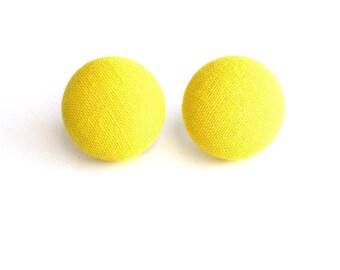 Yellow Fabric Button Earrings
