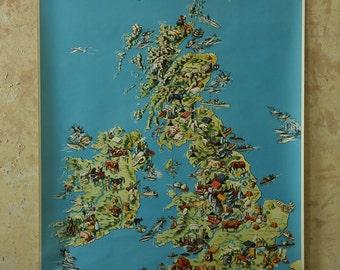Original Vintage German Educational School Wall Chart BRITISH ISLES MAP United Kingdom Quirky Geography Beautiful Rare Westermann