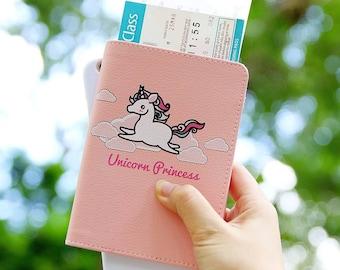 Unicorn princess Passport holder,personalized passport cover pink,passport cover kids,pink passport cover,gift for daughter,gift for girls