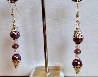 Purple basket bead earrings