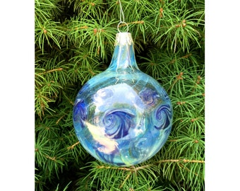 Handblown glass Christmas ornament - clear and blue with silver fuming.