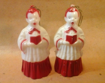 2 Vintage 1950s  Plastic Choir Boy Christmas Tree Ornaments