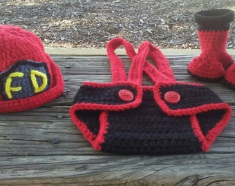 Firemans hat, diaper cover, and boots