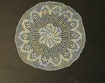 hand crocheted 9 inch doily light silvery blue hand painted thread