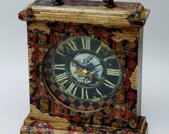 Alice in Wonderland Mantel Clock, White Rabbit. Queen of Hearts. Alice in Wonderland Decor. Unique Clock. Alice in Wonderland. Clock Gift