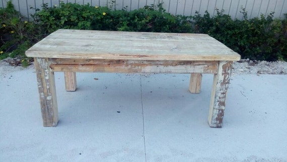 Cottage Style Reclaimed Wood Coffee Table Country French White