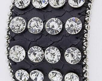 Genuine Leather Crystal Bling Bracelet