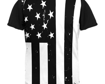 Black and White American Flag Adult Black Back T-Shirt