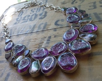 Sterling Silver Purple Titanium Druzy and Amethyst Chunky Gemstone Necklace