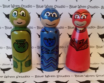 Wooden Peg Dolls - PJ Masks Characters