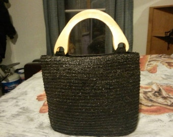 Vintage tote with wood handles