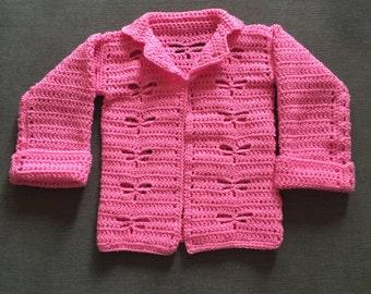 Dragonfly crocheted cardigan, girls cardigan, crocheted cardigan, dragonflies
