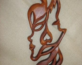 Gemini, Gemini Constellation,  Wooden sign Gemini,  Woodcarving, Carving wall, Gemini mask