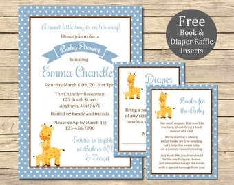 Blue Giraffe Baby Shower Printable Invitation, Book Insert & Diaper Insert, Giraffe Baby Shower Invite Package, Blue, Boy, Download, 005-B