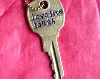 Love Live Laugh Key Necklace