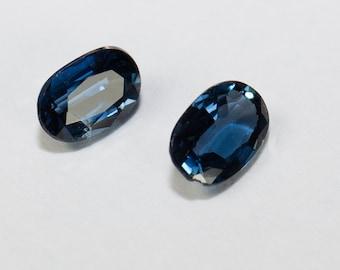 Natural Deep Blue Sapphire, Matching Pair, Oval Mixed Cut, 0.59ct Total Weight