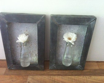 Two beautiful handmade flower vase painting