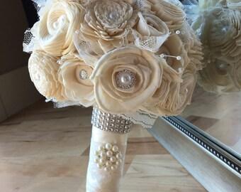 Ivory Wedding bouquet, Simple wedding bouquet, Sola bouquet, Alternative bouquet, White wedding bouquet, Vintage bridal bouquet
