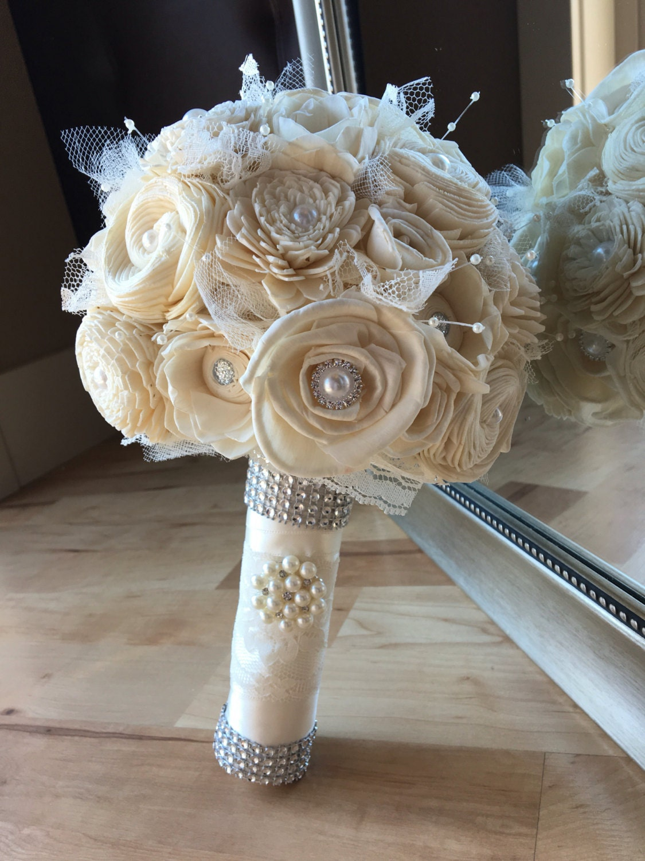 Ivory wedding bouquet simple wedding bouquet sola bouquet for Wedding bouquets