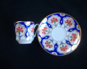 Vintage Miniature Hand Painted Cup and Saucer Set
