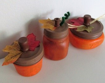 Hand-Painted Pumpkin inspired Mason Jars, Assorted Sizes, set of 3