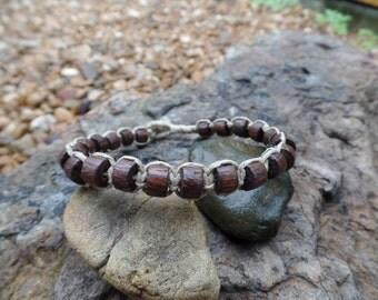 Brown-Wooden Bead hemp Bracelet