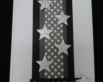 Congratulations card, monochrome, black and white, silver stars