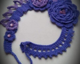 Violet and lavender handmade crochet statement necklace