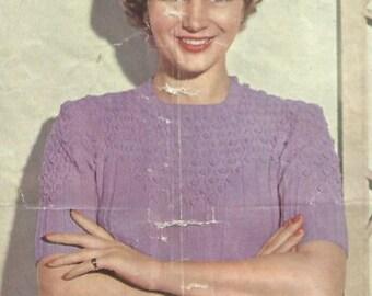 Ladies Vintage Pullover Knitting Pattern