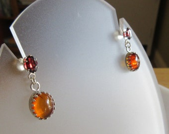Amber and Garnet Sterling Silver Dangle Earrings