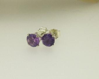 Amethyst and Silver Stud Earrings