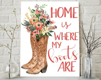 Home Is Where My Boots Are, Welcome Home Print, Home Sweet Home, Country Print, Floral Cowboy Boots, Shabby Chic Decor, Printable Wall Art