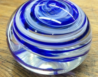 Blue and White Spiral Hand Blown Glass Art Paperweight