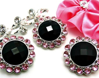 Black Rhinestone Button W/ Pink Surrounding Acrylic Rhinestones DIY Embellishments Garment Buttons Wedding Coat Fashion 26mm 3185 1 26R