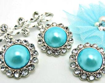 Aqua Blue Rhinestone Pearl Buttons Acrylic W/ Clear Surrounding Rhinestones Wedding Buttons Wedding Bouquets Button Brooch 26mm 3185 58P 2R