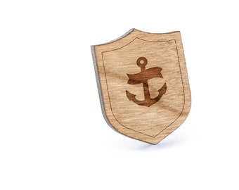 Anchor Navy Lapel Pin, Wooden Pin, Wooden Lapel, Gift For Him or Her, Wedding Gifts, Groomsman Gifts, and Personalized