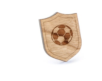 Soccer Lapel Pin, Wooden Pin, Wooden Lapel, Gift For Him or Her, Wedding Gifts, Groomsman Gifts, and Personalized