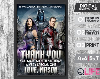 X-MEN Digital Thank you Card, Personalized Thank you, X-men Party, X-men Digital Thank you