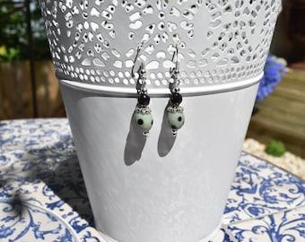 Green and petrol beaded earrings