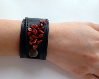 leather bracelet- leather cuff- black leather cuff with stones