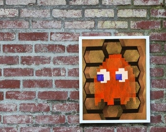 Pacman Game Ghost Honeycomb Graffiti Stencil Art.